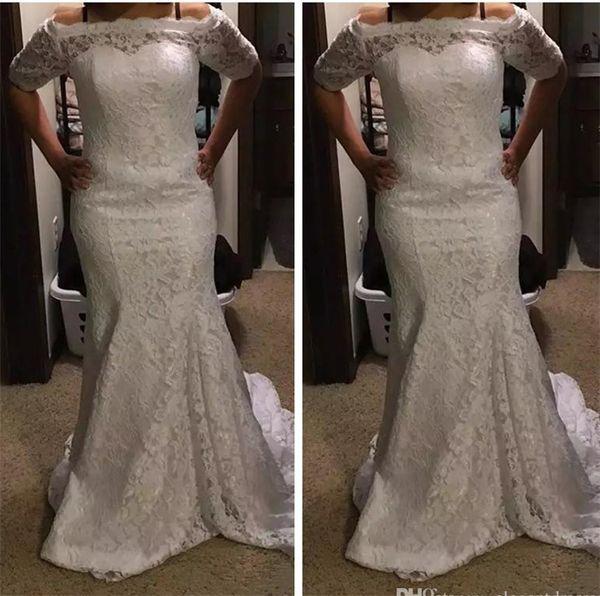 Mezze maniche sirena pieno pizzo abiti da sposa 2019 Bateau collo abiti da sposa lunghi spazzare treno foto reali Vintage Plus Size abiti da sposa