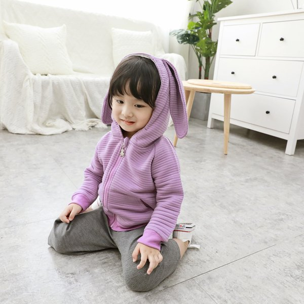 2019 Autumn Winter Spring Baby Girls Long Sleeve Coat Jacket Rabbit Ear Hoodie Casual Outerwear Cute Zipper Cardigan Purple Pink