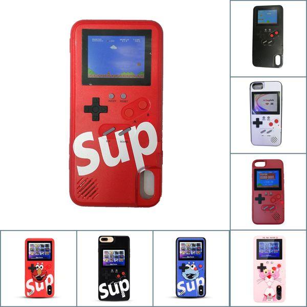 SUP zırh Silikon koruyucu kapak Mini El Oyun oyuncu Renkli LCD Retro Klasik Oyunlar Için iphone6 7 8 8 artı X XS Max Xr telefon kılıfı