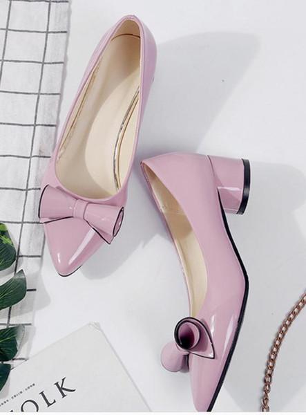 2019 бантом Женская обувь весной и осенью с новым стилем средний каблук грубый каблук указал конец