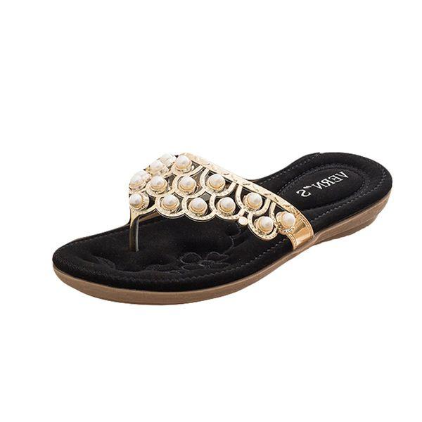 SummerWomenLadiesBohemia Bling Crystal Flat Flip-Flop Beach Casual Shoes fashion flat Round Toe slipper shoe outside Apr 30