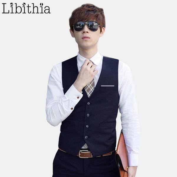 Men's Slim Fit Vest Waistcoat Male Suit Vest Social Clothes Wedding Formal Fashion Blue Black Grey Violet Wine Red White