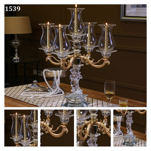 Romantic Candle Holders Crystal Wedding Centerpieces 5 metal arms Hurricane Cover Coloured Glaze Pillar Holder Table Candelabra