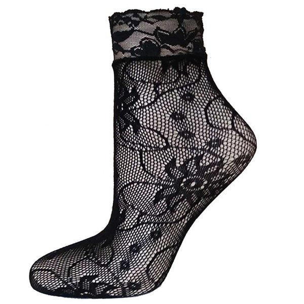NEUE schwarze Spitze der Socken-Frauen-ultradünner Sommer-reizvoller Fishnet-Masche-Spitze-Kurzsocken-knöchelhohe freies Verschiffen # 4F20