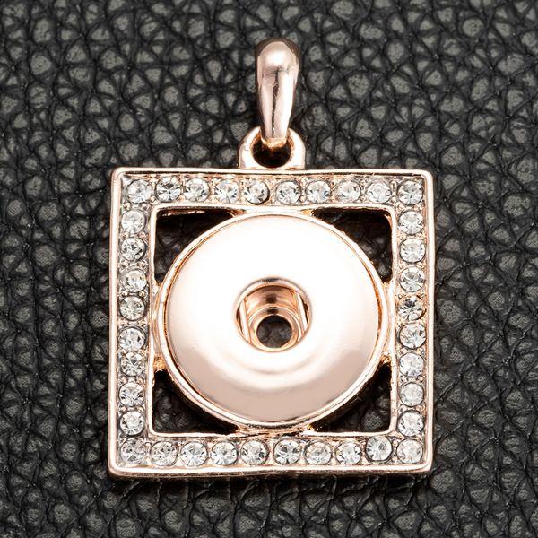 Joyas Snap Charms Necklace 18mm Colgante 12 Estilos Color oro rosa Diamantes de imitación NOOSA Botón de jengibre a presión - P