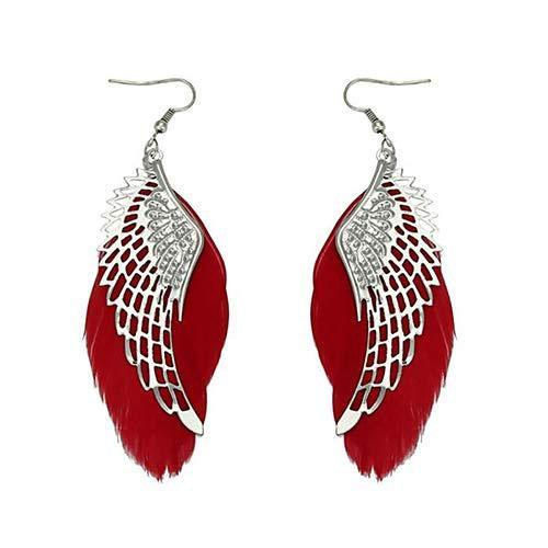 Hot Sale Fashion Jewelry DIY Angel Wing Natural Feather Earrings Handmade Ornament Bohemian Long Drop Earrings Women Statement Gift M401F