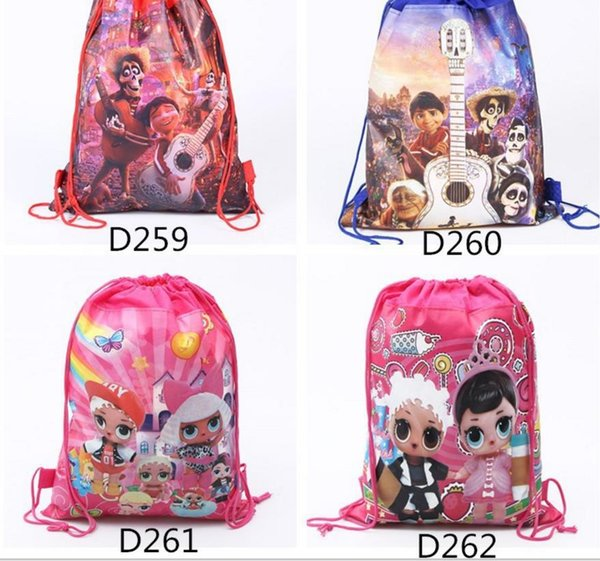 34*27cm 120Pcs DHL Dreaming around Drawstring Bag Boys Girls Cartoon School Bag Children Printing Sports Backpacks for Birthday Party Gifts