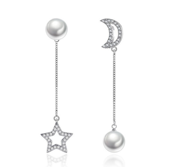 Gioielli Ragazze donna alta qualità degli orecchini orecchino di Fashion Design luna e stella di stile Orecchini per la ragazza delle donne