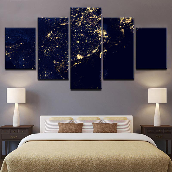 5 Panels Large Size Satellite Earth Night Scene Framed Art Print Picture Poster Art Home Decor Oil Painting on Canvas