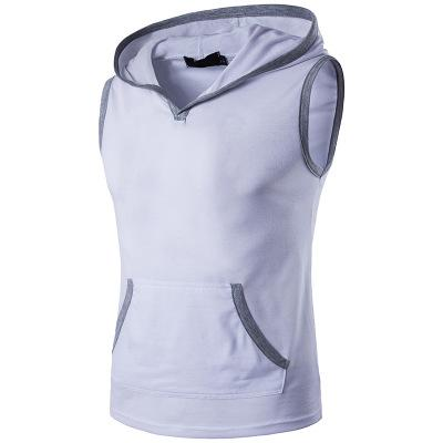 Male Casual Vest Hooded Solid Patchwork Eur Plus Size Cotton Good Quality Sleeveless Top Clothing