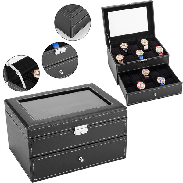 20 Grids Watch Box Case Double-deck Faux Leather Glass Top Display Lockable Organizer for Clock Watches Jewelry Boxes gift Case
