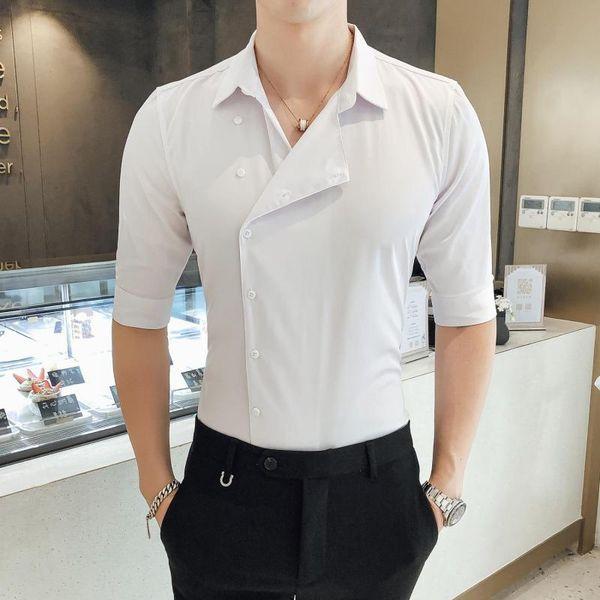 Wing Collar Tuxedo Shirt Men Slim Fit Dress Shirt Half Sleeve Party Wear Plain Summer Non Pleated Side Button Tuxedo Shirts XXXL