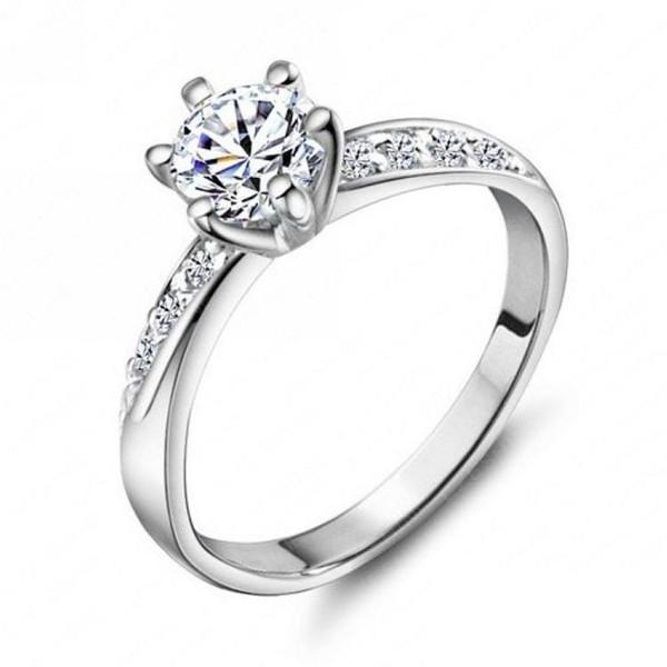 Обручальное кольцо Классический дизайн Real Platinum с покрытием 6 зубцов 0.5ct Имитация Кольца с бриллиантами для женщин FreeShipping CRI0049-B