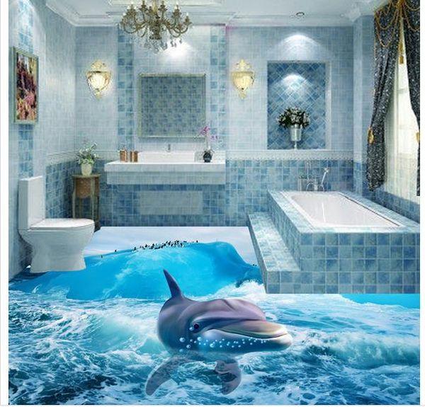 Floor Wallpaper 3d For Bathrooms 3d Ocean Underwater World Dolphin Bathroom Floor Tiles Decorative Painting The Hd Wallpaper The Hd Wallpapers From