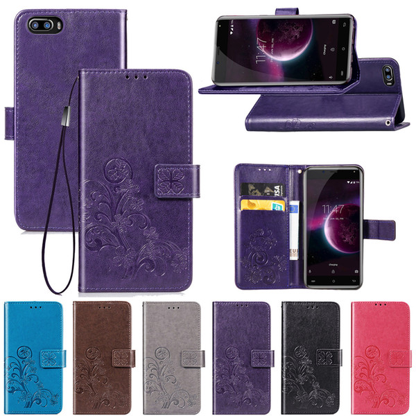 Protect Case for Cubot Magic Cover PU Leather Four Lucky Leaf Grass Card Slots Hand Strap(Magic)