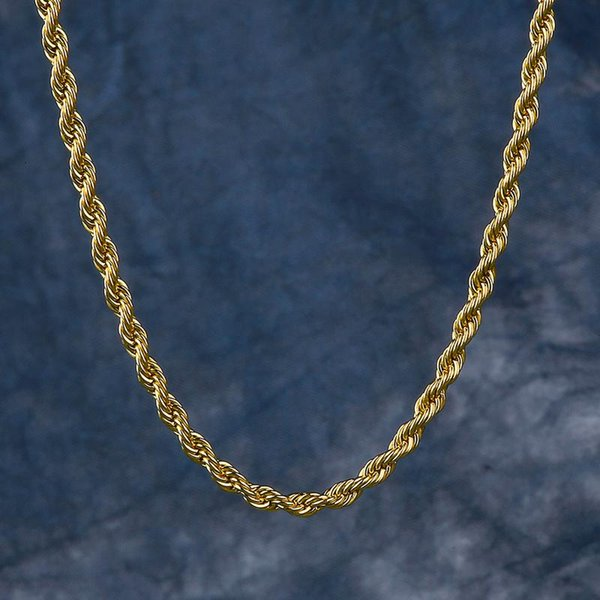 Rope Chain Gold Necklace Singaporean Chain Venetian Necklace for Men and Women 3mm Hip Hop Jewelry Culture