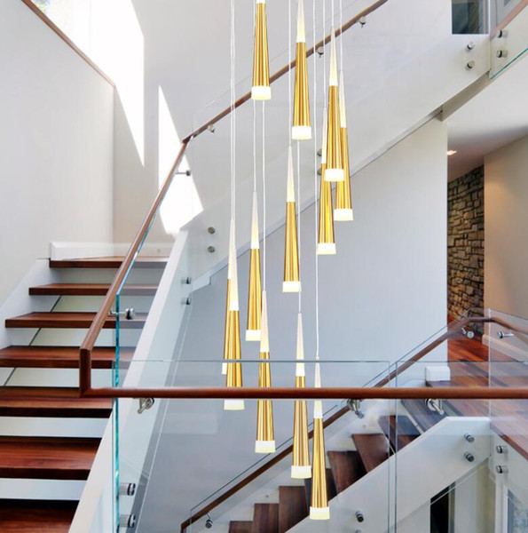 best selling Sliver Gold Spiral staircase Chandelier Living room staircase Stairwell Hall Hotel chandelier led modern chandeliers Lamp