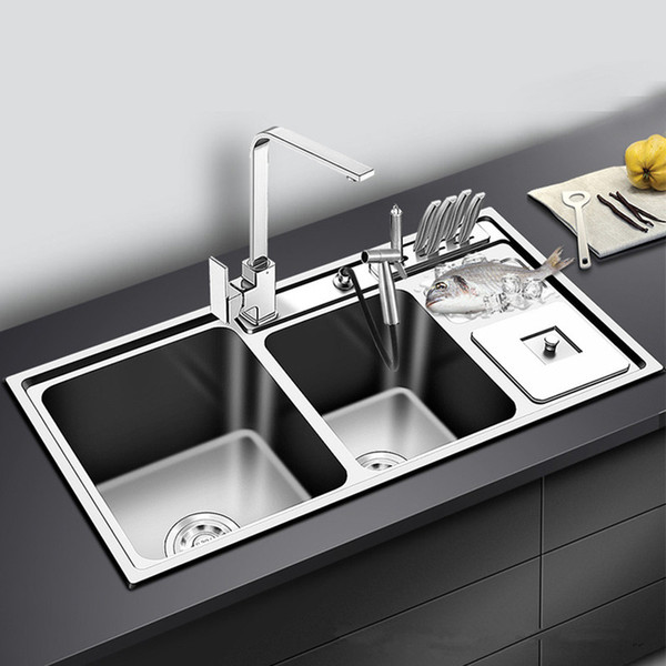 top popular Stainless Steel Kitchen Sink Double Bowl Thickness Sinks Kitchen Above Counter or Udermount Sinks Vegetable Washing Basin 2021