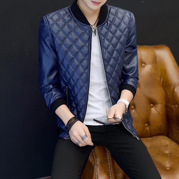 2019 automne explosions mode masculine de haute qualité PU veste en cuir baseball col plaid plus velours plus veste en coton