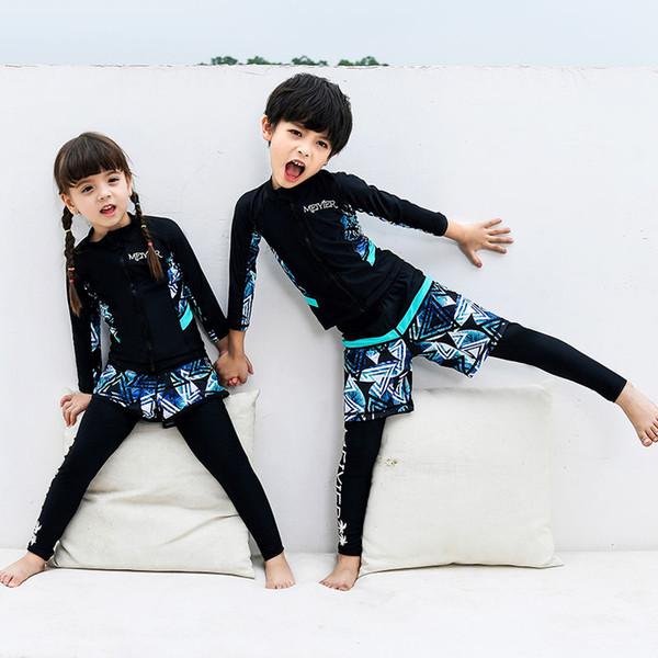 2019 Nouvelle conception maillot de bain pour les enfants UV shirt + shorts + pantalons enfants surf maillot de bain complet du corps filles garçons beachwear maillot de bain