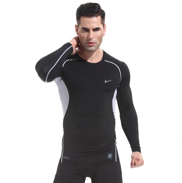 Men Fitness Basketball Running Sports T-shirts long sleeve Thermal Muscle Bodybuilding Gym Compression Tights Jacket sweater tees Best TEE