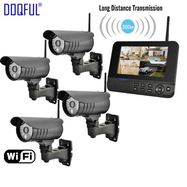 "7"" LCD Monitor Home Security Camera System Wireless Quad SD Record CCTV DVR PIR Alarm Guard 4CH Digital Surveillance Kit DIY"
