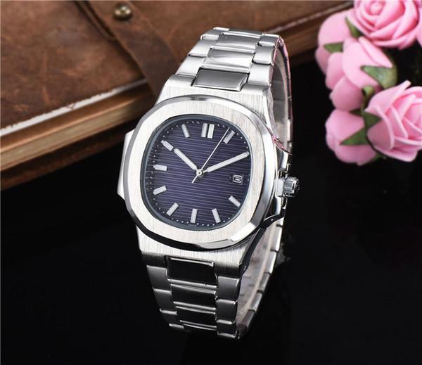 Venta caliente hombres mujeres deportes reloj Nautilus todo acero inoxidable mar azul dial cuarzo automático relojes relogio royal calibre montre