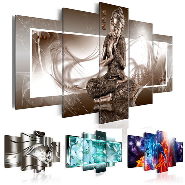 5PCS/Set Fashion Wall Art Canvas Painting Buddha Metal Abstract Fiery Love Lily Flower Modern Home Decoration,Choose Color:4 And Size:2(No F