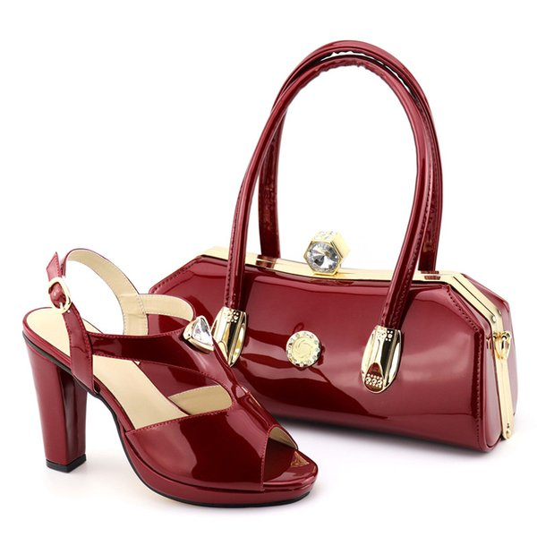 Wine Color Ladies Italian Shoes and Bag Set Decorated with Rhinestone Italian Shoes with Matching Bags High Quality Party Shoe