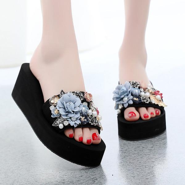 1f7655369f762 MUQGEW новое поступление Женские тапочки Летние чешские тапочки с открытым  носком Модные тапочки с нескользящим клином