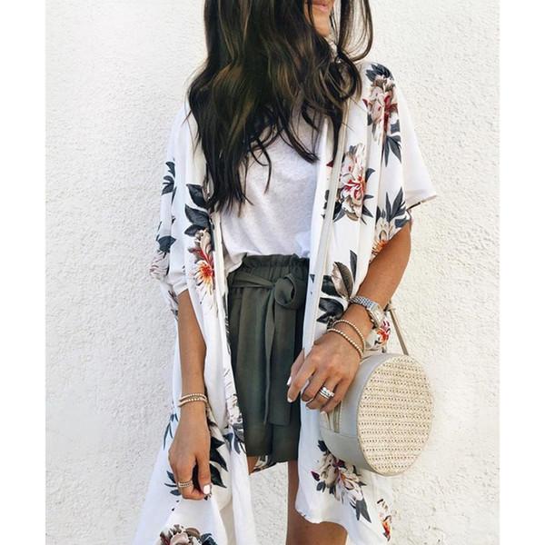 LASPERAL Blumendruck Kurzarm Frauen Bluse Shirt Lose Hawaii Lange Strickjacke Sommer Sunproof Blusa Weibliche Strand Tunika Tops