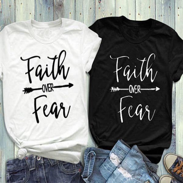 Glaube über Angst T-Shirt Femme Kurzarm Frauen Kawaii T-Shirt Kausale Poleras Mujer Top Gothic Plus Size T-Shirt