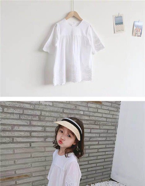 Spring and summer 2019 south Korean version of pure cotton girl dress new children's white embroidered princess dress lovely temperament com