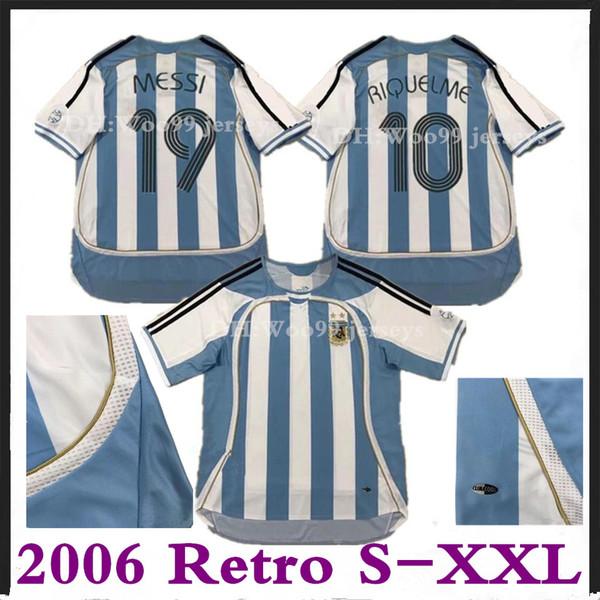 2006 Argentina 19 MESSI 10 RIQUELME Camisola de Futebol Retro 2006 Argentina THAI Vintage Classic Collection 06 07 camisa de futebol CRESPO Camiseta