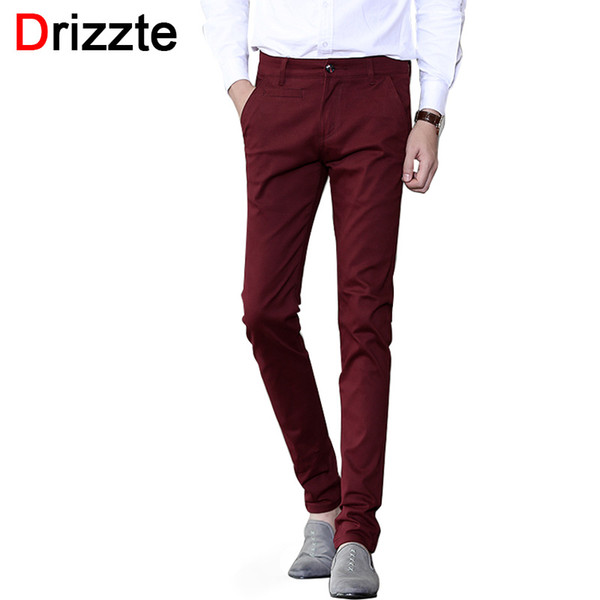 Drizzte Mens Soft Slim Stretch Cotton Dress Chino Pants Jean Khaki Black Beige Red Grey Trousers 32 33 34 36