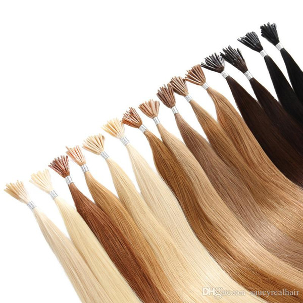 Colorful Pre-bonded Stick I Tip Human Hair Extensions 18 20 22inch 1g/Strands & 400st Lot Prebonded hair , free DHL