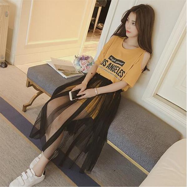 Version coréenne du costume, manches courtes robe mode saison lettre femelle fils de soie fils de soie en deux parties M 5xl