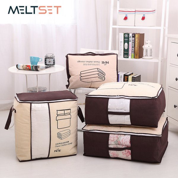 Portable Clothes Storage Bag Wardrobe Closet Organizer Garment Bag Storage for Quilt Blanket Bedding Clothing Bag