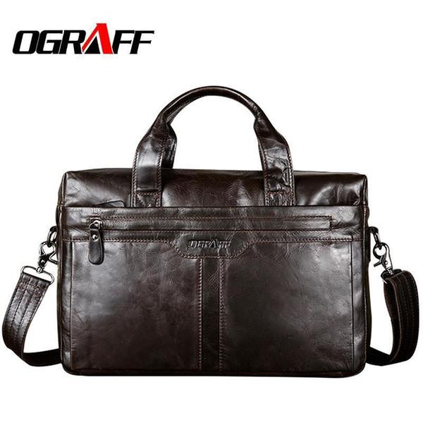 Ograff Echtes Leder Herrentasche Geldbörsen Und Handtaschen Messenger Schultertaschen Berühmte Marke Männer Handtaschen Designer Hohe Qualität Y19061803