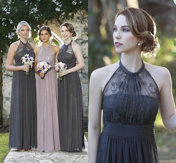 best selling Dark Gray Chiffon Long Bridesmaid Dresses Beach Garden Romantic Lace Wedding Guest Dresses Halter Maid of Honor Gowns A Line Custom Made