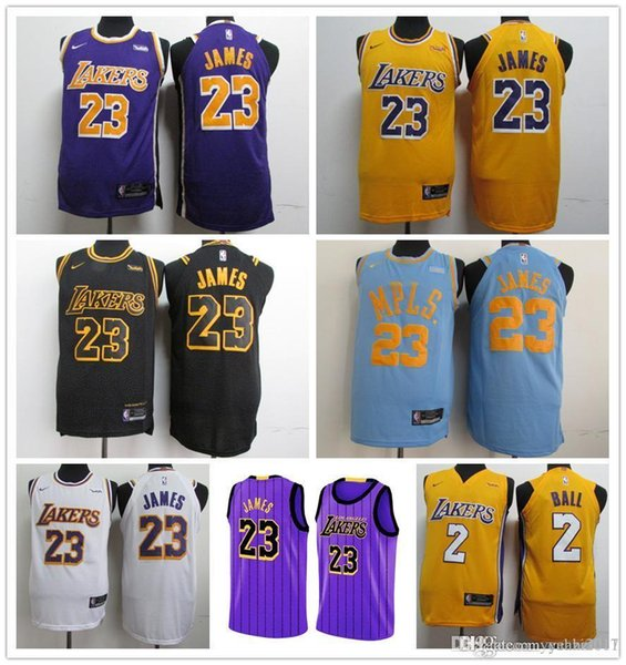 buy online 2e3c5 2ef60 2018 2018 NEW 23 James La Lakers Jersey LBJ Yellow Purple Lonzo Ball Los  Angeles Lakers LeBron Black Kobe Bryant Basketball Jerseys From  Ann_jerseys, ...