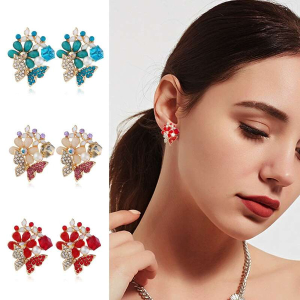 Butterfly flowers diamonds ear studs for women colorful alloy rhinestone earrings girl crystal earring jewelry 3 colors pink red blue