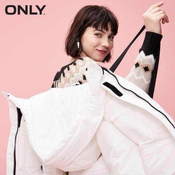 SEULEMENT hiver femmes nouvelle veste longue à capuche lâche fente à glissière latérale taille cordon de serrage | 118312539