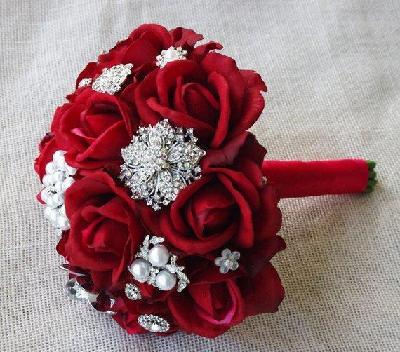 Privado personalizado novo buquê de noiva buquê de flores da dama de honra buquê vermelho rosa com jóias de prata