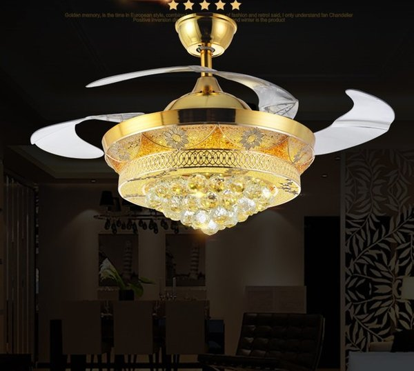 new Led Fans LightInvisible Blades Ceiling Fans Modern Fan Lamp Living Room 42 inch K9 Chandeliers Ceiling Light Pendant Lamp free ship LLFA