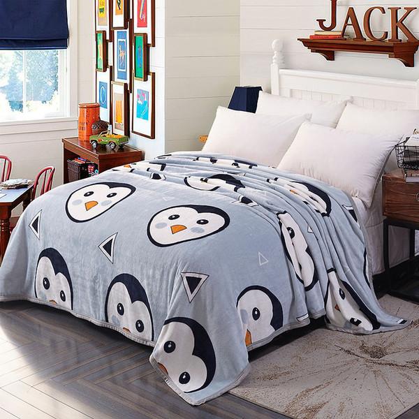 360gsm soft warm coral fleece blanket penguin deer pattern printed plaid sofa cover winter velvet plush fur blankets on the bed