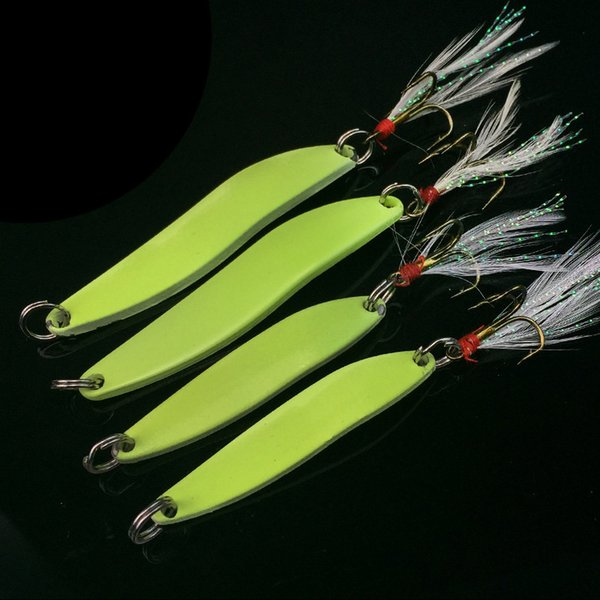 1pcs Metal Spinner Spoon Fishing Lure 5g 7g 10g 13g Luminous Hard Bait With Feather Bass Sea Lures Wobbles Fishing Tackle Ww1048