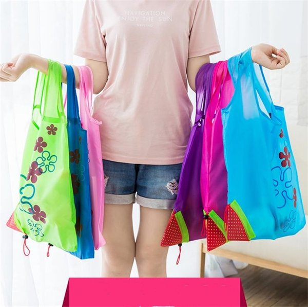 Fashion Strawberry Foldable bag Reusable Eco-Friendly Shopping Bags Pouch Storage Handbag Strawberry Foldable Folding Tote Storage Bag D0030