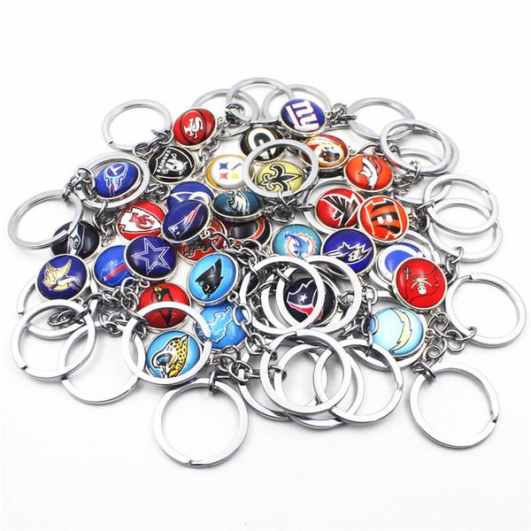 Wholesale 32pcs/lot Mix Football Team Sports Keychains Keyring America Football Logo key chains Jewelry Sports Keychains