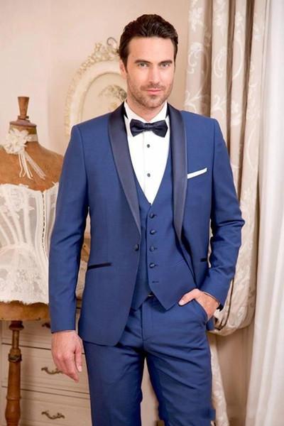 Excellente bleu smokings marié noir Châle mariage Smokings Lapel Groomsman Mode Hommes Prom Blazer 3 Piece Suit (Veste + Pantalon + Tie + Gilet) 6